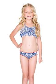 Young little girls in bikinis thought